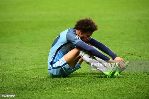 Disappointment for Leroy Sane of Manchester City as his side lose the Uefa Champions League match between As Monaco and Manchester City round of 16...