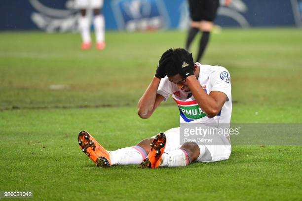 Disappointment for Myziane Maolida of Lyon after he blasts his shot wide during the French Cup match between Caen and Lyon at Stade Michel D'Ornano...
