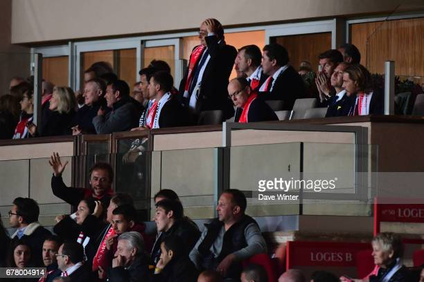 Disappointment for Prince Albert of Monaco as his side loses the Uefa Champions League match semi final first leg between As Monaco and Juventus FC...