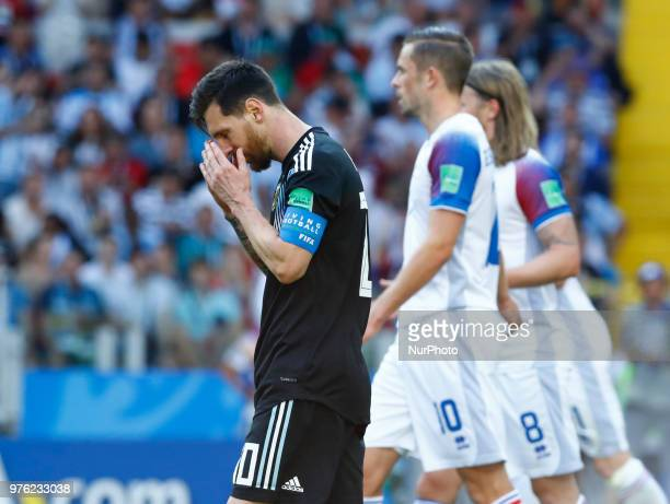 Disappointment of Lionel Messi during the 2018 FIFA World Cup Russia group D match between Argentina and Iceland at the Spartak Stadium on June 16...