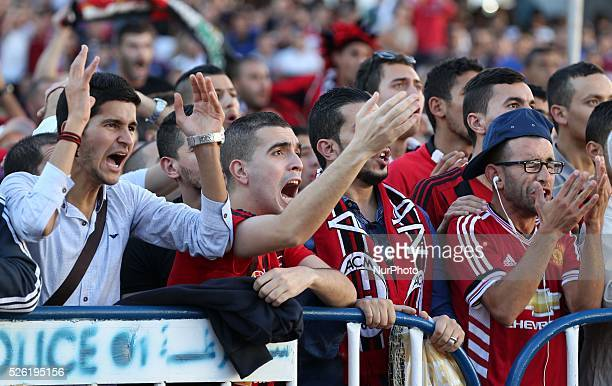 Disappointment USM Alger supporters after the final match defeat to the African League Champions on in Algiers Algeria