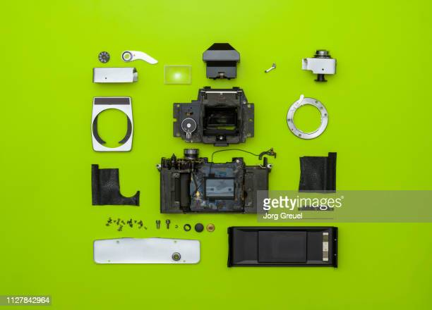 disassembled 1970s single lens reflex camera - dismantling stock pictures, royalty-free photos & images
