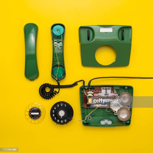 disassembled 1980s telephone - dismantling stock pictures, royalty-free photos & images