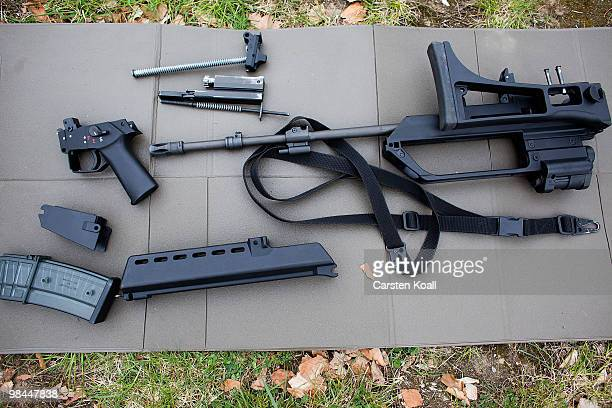 A disassembled G36 assault rifle is seen at the Julius Leber barracks on April 14 2010 in Berlin Germany German Defense Minister KarlTheodor zu...