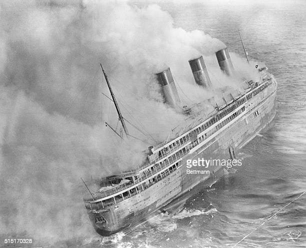 French Liner L'Atlantique aflame near English Channel Unusually graphic aerial view Photograph 1935 BPA2# 1937