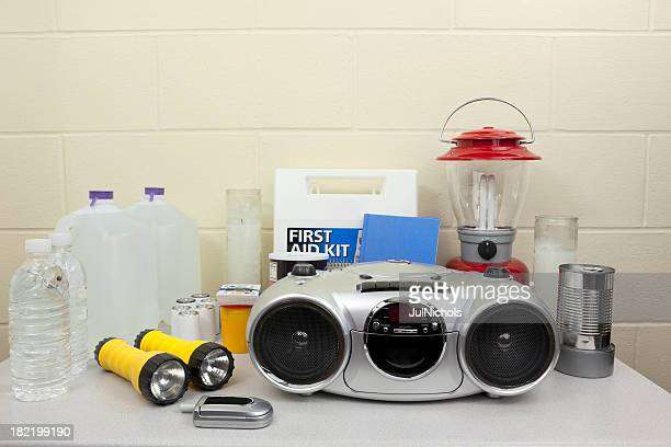 disaster or blackout supplies - hurricane storm stock pictures, royalty-free photos & images