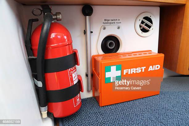 disaster preparedness  - fire extinguisher stock photos and pictures