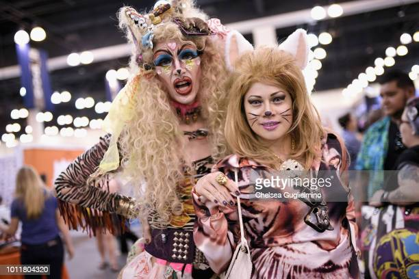 Disasterina and artist Ave Rose attend CatCon Worldwide 2018 at Pasadena Convention Center on August 5 2018 in Pasadena California