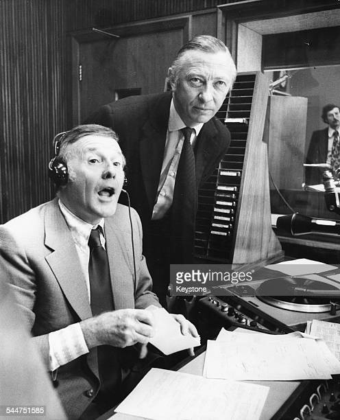 Disc jockey and broadcaster Jimmy Young introducing Shadow Chancellor Robert Carr on BBC Radio 2 London September 11th 1974