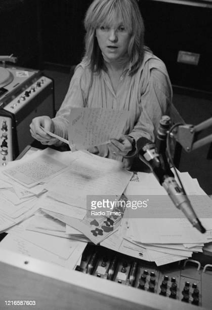 Disc jockey Annie Nightingale in a Radio 1 studio, for the BBC Radio 1 show 'Radio 1 Mailbag', October 1978.