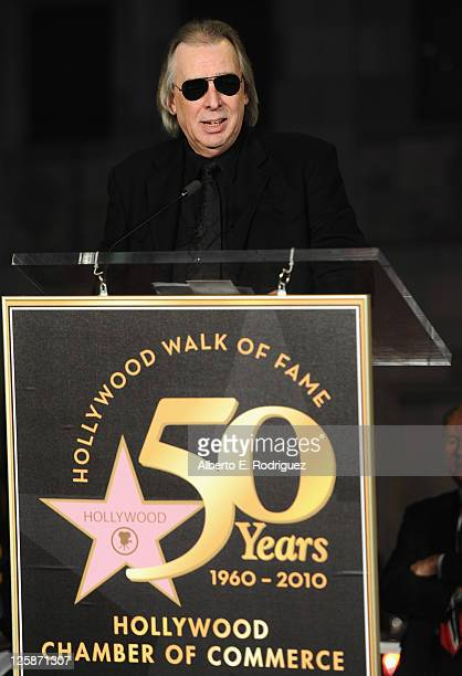 Disc jockey Jim Ladd speaks the Hollywood Walk of Fame's 50th Anniversary Celebration on November 3 2010 in Hollywood California