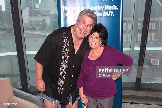 Disc Jockey Mojo Nixon and Wanda Jackson visits the SIRIUS XM Studio during the Americana Music Festival on September 10 2010 in Nashville Tennessee