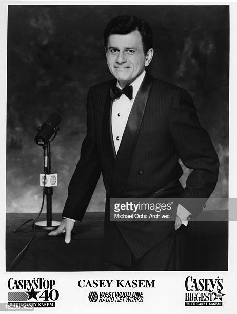 Disc jockey, TV personality and actor Casey Kasem host of 'Casey's Top 40' and 'Casey's Biggest Hits' poses for a Westwood One publicity still circa...