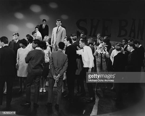 Disc jockey, TV personality and actor Casey Kasem hosts the KTLA music show Shebang! circa 1965 in Los Angeles, California.