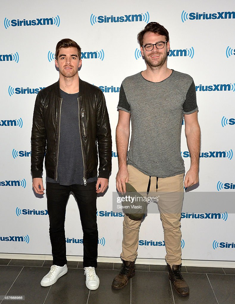 Disc jockey/producer/songwriter duo Andrew Taggart (L) and Alex Pall of 'The Chainsmokers' visit SiriusXM Studios on October 22, 2014 in New York City.