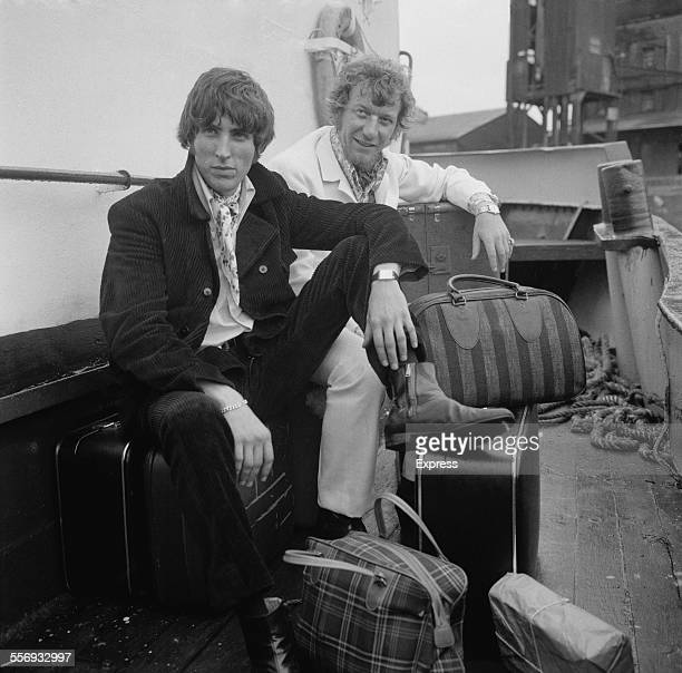 Disc jockeys Johnnie Walker and Robbie Dale, of ship-based pirate radio station Radio Caroline South, at Felixstowe after the British government...