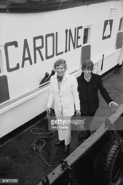 Disc jockeys Robbie Dale and Johnnie Walker of shipbased pirate radio station Radio Caroline South at Felixstowe after the British government...