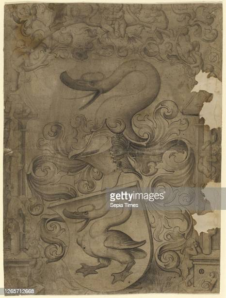 Disc tear with swan coat of arms, children playing on the side and in the upper picture, around 1508, pen and brush in dark brown, dark brown washed,...