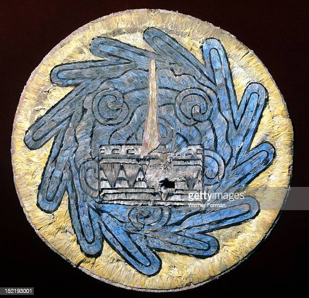 Disc used as a chalice cover the only featherwork example from the early colonial period Mixing Aztec iconography with the recently arrived Christian...