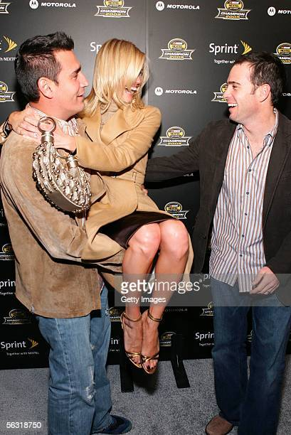 Discala lifts Driver Jimmie Johnson's wife at the 2005 NASCAR Nextel Cup Series Championship Party At Marquee Presented By Sprint on December 1 2005...