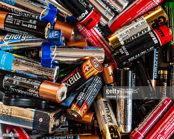 Discardarded AA and AAA nonrechargeable batteries