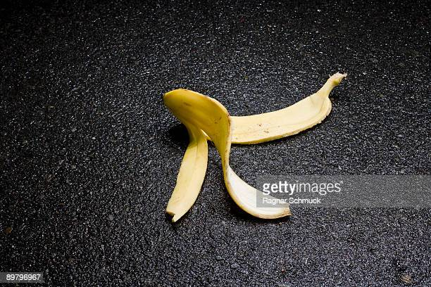 A discarded banana peel