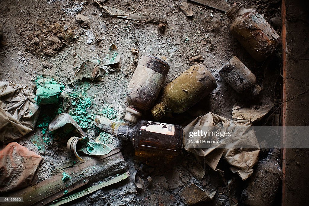 Discarded bottles of chemicals lay on the floor in a building at the site of the deserted Union Carbide factory on November 28, 2009 in Bhopal, India. Twenty-five years after an explosion causing a mass gas leak, in the Union Carbide factory in Bhopal, killed at least eight thousand people, toxic material from the 'biggest industrial disaster in history' continues to affect Bhopalis. A new generation is growing up sick, disabled and struggling for justice. The effects of the disaster on the health of generations to come, both through genetics, transferred from gas victims to their children and through the ongoing severe contamination, caused by the Union Carbide factory, has only started to develop visible forms recently.