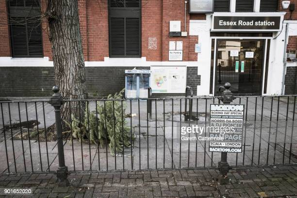 A discarded Christmas tree lies outside Essex Road station in Angel on January 5 2018 in London England In the lead up to Christmas a pine tree is...