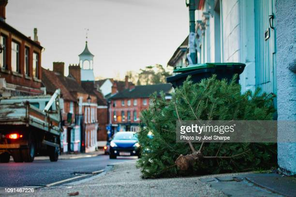 a discarded christmas tree on the street - car decoration stock pictures, royalty-free photos & images