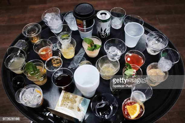 Discarded drinks sit on a tray at Bar Convent Brooklyn an international bar and beverage trade show at the Brooklyn Expo Center on June 12 2018 in...