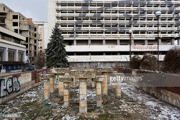 Discarded fountain from the former Soviet Union is seen on February 23, 2019 in Chisinau, Moldova. The Russian Federation has an estimated of fifteen...
