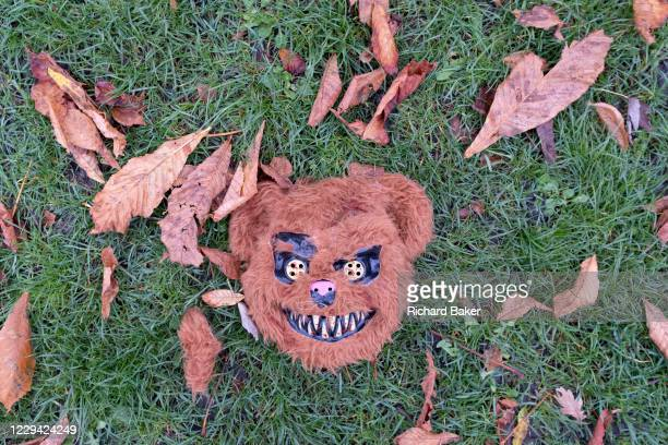 Discarded Halloween debris lies in Ruskin Park, a south London green space in the borough of Southwark, after an ilegal gathering of young people...