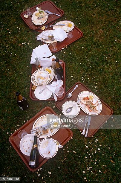 Discarded leftovers of picnic food and drink on the grass during the annual Chelsea Flower Show the annual event held by the Royal Horticultural...