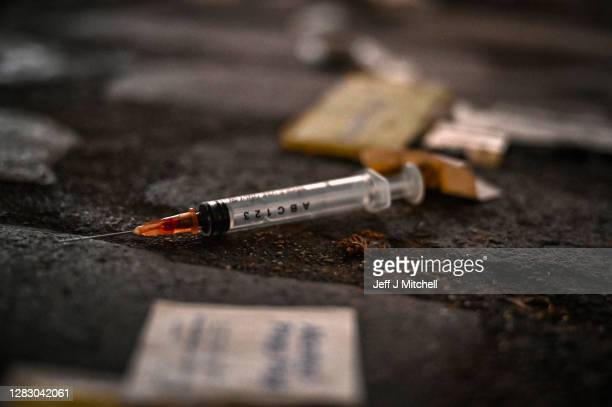 Discarded needles are left in a lane next to Parnie Street near to the Safe Consumption van set up by Peter Krykant on October 30, 2020 in...