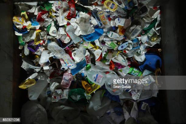 Discarded plastic drinks cartons lie in a bin at the ALBA sorting center for the recycling of packaging materials on August 15 2017 in Berlin Germany...