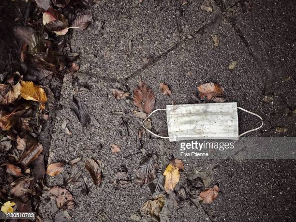 discarded protective face mask dropped onto a wet pavement and surrounded by autumn leaves - pavement stock pictures, royalty-free photos & images