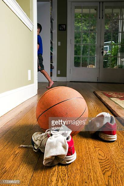 discarded shoes, socks and basketball - dirty feet stock pictures, royalty-free photos & images