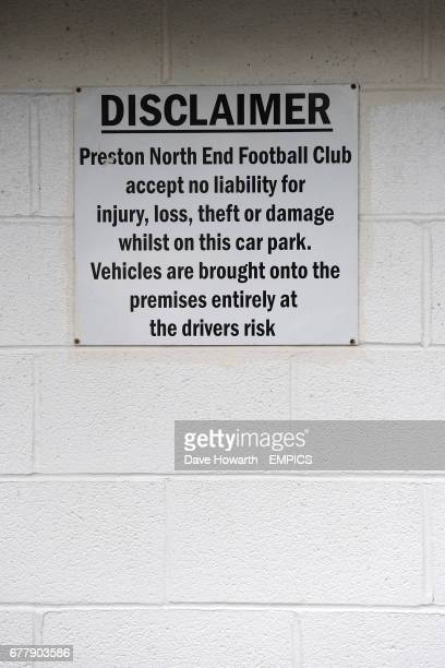 A disclaimer sign at Deepdale