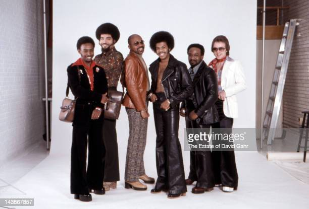 Disco and funk group The Jimmy Castor Bunch pose for a portrait in March 1974 in New York City New York