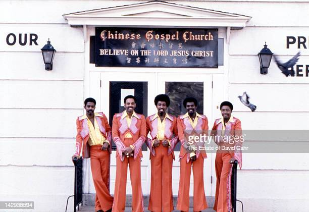 Disco and soul group The Trammps pose for a portrait in October 1977 in Philadelphia Pennsylvania
