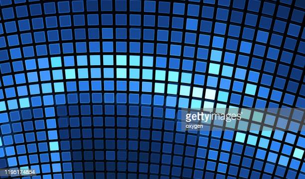 disco ball classic blue shining flares background. glowing abstract cyber colorful background for your designs. elegant modern geometric wallpaper - curve stock pictures, royalty-free photos & images