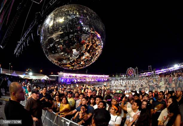A disco ball is seen after Arcade Fire's performance on Downtown Stage during the 2018 Life Is Beautiful Festival on September 23 2018 in Las Vegas...