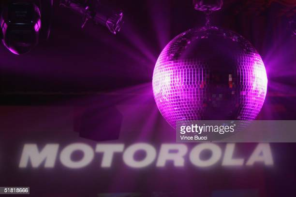 A disco ball shines inside the Music Box Theatre where Motorola hosted their sixth anniversary party with a performance by Hip Hop pioneer LL Cool J...