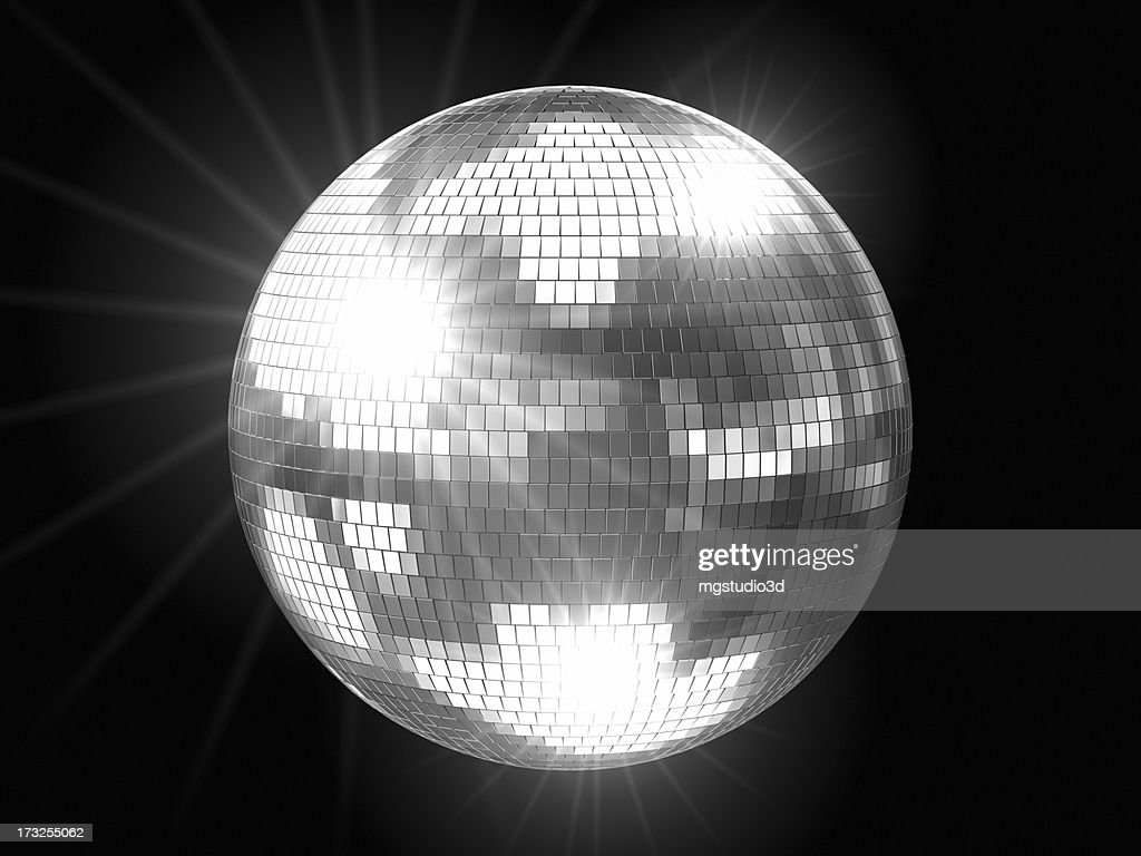 Disco Ball Silver with Flares : Stock Photo
