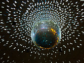 disco ball with lights hanging from ceiling