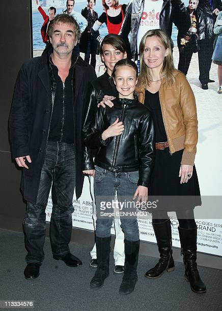 'Disco' Premiere In Paris France On April 01 2008 Olivier Marchal with his wife Catherine and daughters