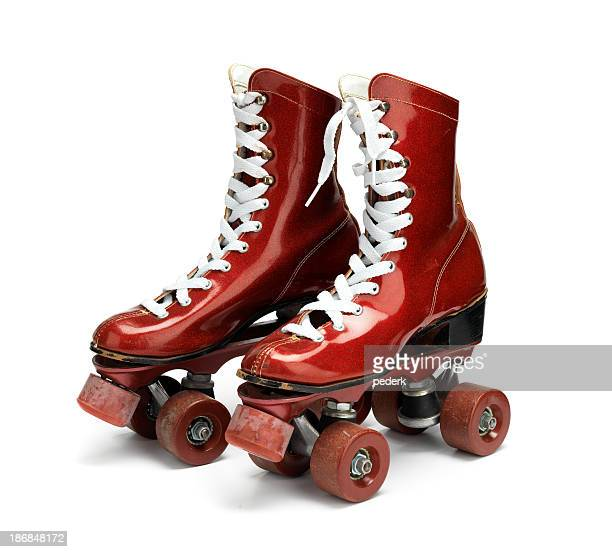 disco roller skates - roller skating stock photos and pictures