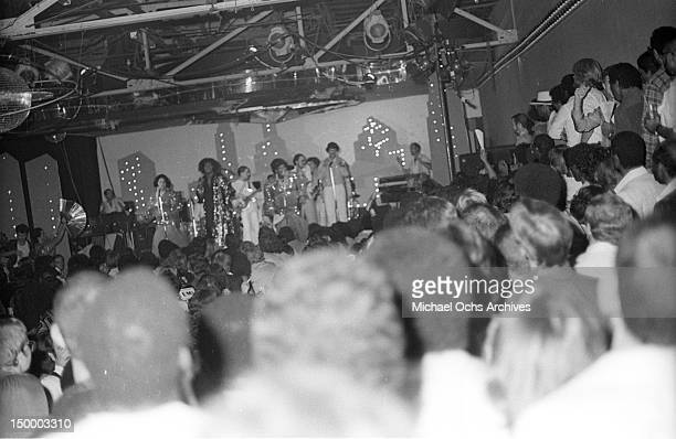 Disco singer Sylvester aka Sylvester James performs onstage at the disco nightclub Studio One in August 1978 in Los Angeles California