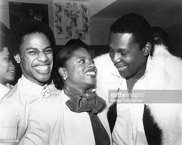 Disco singers Keith Barrow Sarah Dash and Sylvester aka Sylvester James chat at an event held in honor of CBS Recording Groups' disco involvement in...