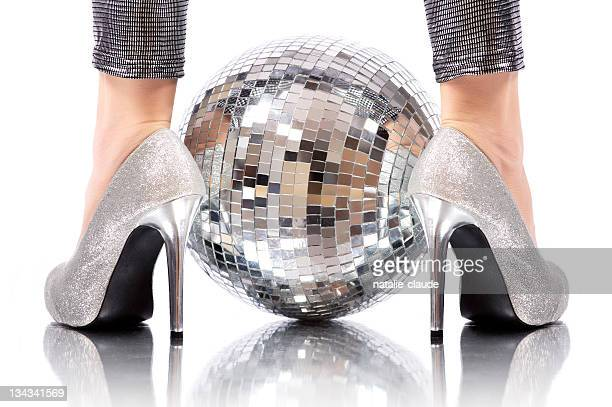 disco time - silver shoe stock photos and pictures